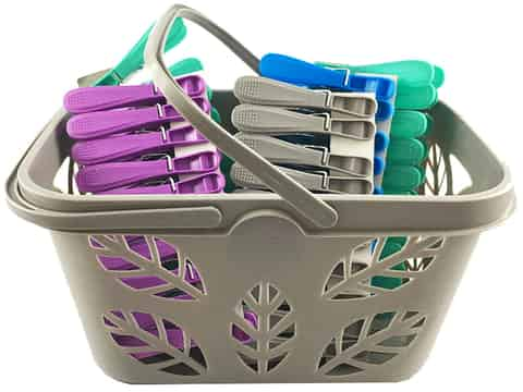 Clothes pegs 50 pieces with a basket (Gray) at Wasserman.eu