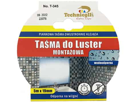 Mounting tape for mirrors Technicqll T-345 white 5m at Wasserman.eu