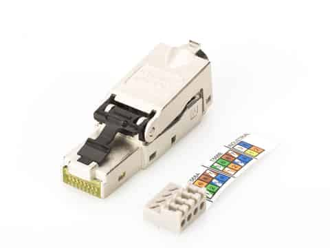 Connector for assembly Ethernet RJ45 cat.6a AWG 22-27, 10 GBit Ethernet, PoE + at Wasserman.eu