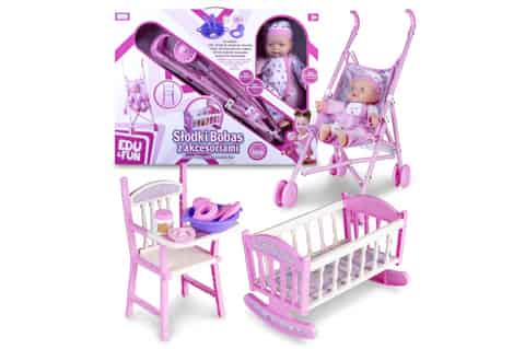 Doll Natalia with a stroller and bed at Wasserman.eu