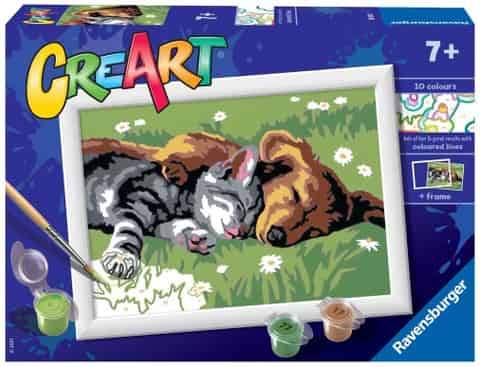 Coloring book CreArt for children Sleepy kitty with a dog at Wasserman.eu