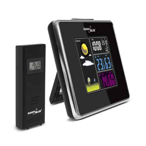 Wireless weather station IN/OUT temperature humidity USB charger GB142 black at Wasserman.eu