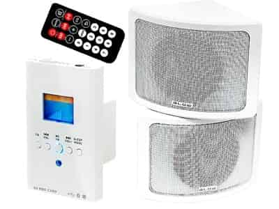 Wall-mounted BLOW NS-02 audio set with a 30-310 remote control at Wasserman.eu